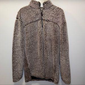 Sherpa teddy bear 1/4 zipper pullover collared sweater 2 toned sz L